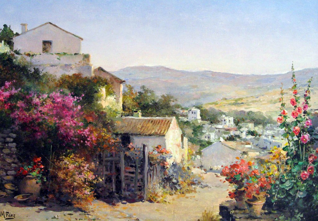 Pinturas al oleo de paisajes con casas de pueblos car - Cuadros de casas ...