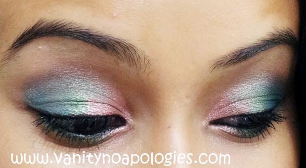 blue pink eye makeup