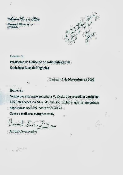 Esclarecimento de Aníbal Cavaco Silva BPN SLN