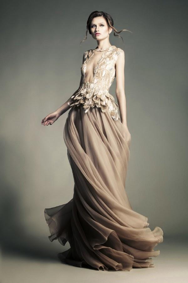 photo robes de haute couture Jean Louis Sabaji , créateur styliste au liban . Robe dans l'esprit Elie Saab , robes de cérémonie magnifique