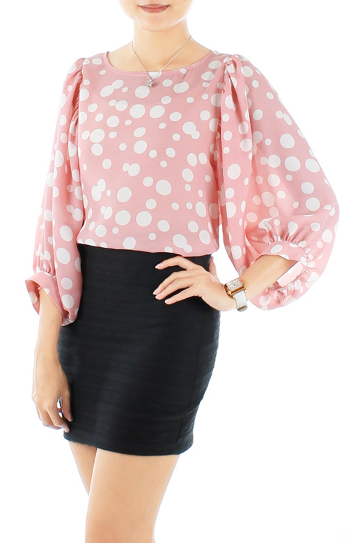 Candy Pink Stellar Bubble Print Blouse with Dolman Sleeves