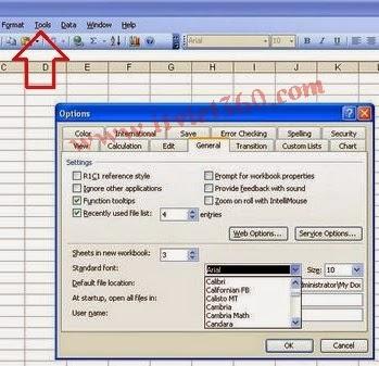 Thiết lập mặc định Font trong Excel 2003