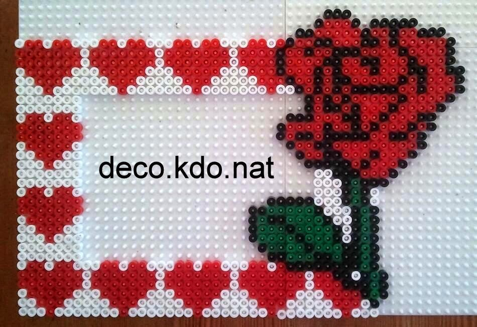 deco kdo nat perles hama cadre photo coeur rose. Black Bedroom Furniture Sets. Home Design Ideas