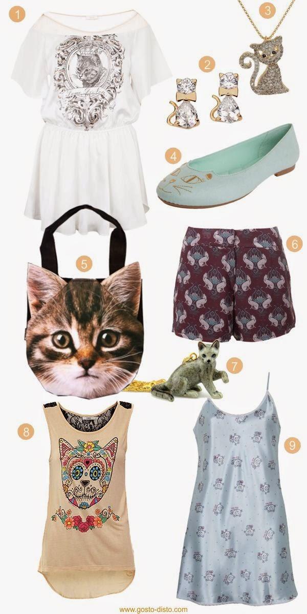 Roupas e acessórios com estampa de gatos