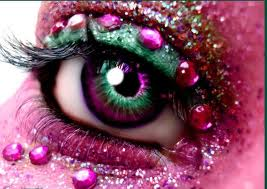 Pink Eye Makeup with Stones and Glitters