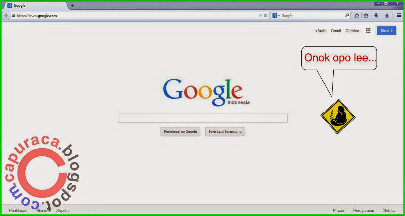 Misteri mbah google, halaman depan google