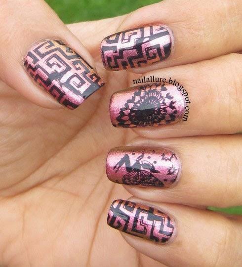 Fairy nail art on Barry M Mediterranean