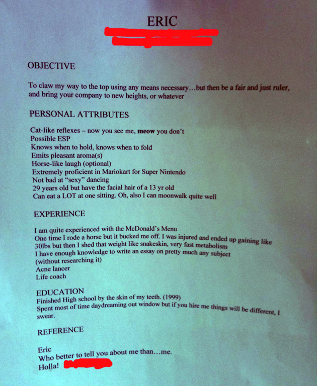 eric s epic resume someone hire this guy
