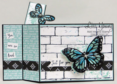 Watercolor Wings, Stampin' Up! stamp set. Butterfly on brick background. Windshield Wiper card made by Lisa Young for the Stamp Review Crew.