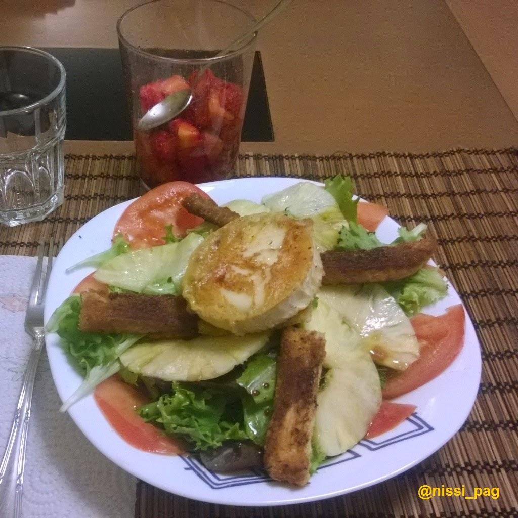 Amanida tèbia amb carpaccio de pinya