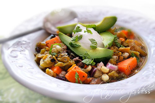 Scrumptious slow cooker stew with roasted chiles, ground turkey, sweet potato and lime
