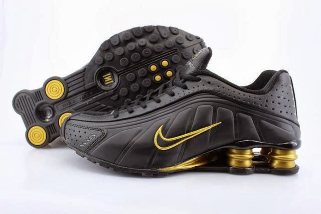 8dcce70422b0 Discount Mens Nike Shox R4 Black Gold Column Shoes Clearance For Sale