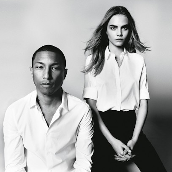 Cara Delevingne and Pharrell Williams by David Bailey for 'British Vogue'