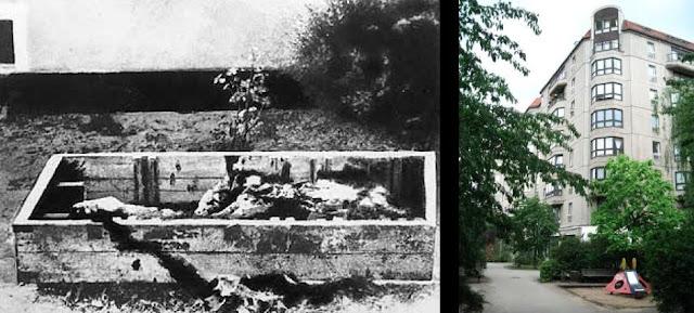 """פיהררבונקר תמונה מ-1947 של הכניסה האחורית לבונקר, לפני שהסובייטים פוצצו את האתר שרידי הבונקר לאחר פיצוצו ב-1947  הפיהררבונקר (בגרמנית: Führerbunker, קרי: הבונקר של הפיהרר) הוא בונקר הפיקוד הראשי והאחרון של אדולף היטלר, הפיהרר של גרמניה הנאצית בשנים 1933–1945 בברלין. היטלר שהה בבונקר מ-16 בינואר 1945 ועד להתאבדותו ב-30 באפריל 1945.  תוכן עניינים      1 בנייה     2 1945     3 אחרי מלחמת העולם השנייה     4 הבונקר ביצירה בדיונית     5 גלריה     6 ראו גם  בנייה  הבונקר נבנה בשנת 1936, בעומק של כ-17 מטר מתחת לחצר משרד הקאנצלר בעיר הבירה ברלין, ובנייתו הושלמה בשנת 1943. הוא הורכב משני בונקרים נפרדים שחוברו לשתי קומות (עליונה - פורבונקר (Vorbunker), ותחתונה - פיהררבונקר), כלל כ-30 חדרים קטנים, והוגן בשכבת בטון בעובי שלושה מטרים. אבזור מגורי הפיהרר הושלם בפברואר 1945. 1945  היטלר עבר להתגורר בבונקר ב-16 בינואר 1945, עם מזכירו האישי מרטין בורמן, פילגשו אווה בראון ושר התעמולה יוזף גבלס ומשפחתו. בבונקר שירתו עשרות אנשי צוות, שעזבו ברובם ב-22 וב-23 באפריל, לפני כיבושה של ברלין על ידי הצבא האדום. היטלר התחתן עם אווה בראון ב-29 באפריל, וב-30 באפריל סוברים ששניהם התאבדו-לא נמצאו ראיות משמועותיות לקבוע זאת בוודאות, מאחר שהגופות הובלו לשריפה בכניסה אל הבונקר, ולא ניתן היה לזהות את הגופות. יוזף ומגדה גבלס הרעילו את ששת ילדיהם והתאבדו ב-1 במאי, ובאותו יום בורמן עזב את הבונקר. כוחות הצבא האדום שכבשו את הבונקר ב-2 במאי מצאו בו אנשי צוות מעטים. אחרי מלחמת העולם השנייה  ממשלות ברית המועצות ומזרח גרמניה ניסו לפוצץ ולהשמיד את הבונקר, ללא הצלחה, בשנים 1947 ו-1959 בהתאמה. חדרים ומעברים שהתגלו במהלך עבודות בנייה במקום הושמדו או נאטמו. במטרה למנוע את הפיכתו של אזור הבונקר למוקד נאו-נאצי - האתר לא סומן במשך שנים רבות, ונבנה בו מגרש חנייה. בשנת 2006 סומן האתר לראשונה. הבונקר ביצירה בדיונית  הסרט הגרמני """"הנפילה"""" (2004, במאי - אוליבר הירשביגל) עוסק בימים האחרונים בבונקר, ומתאר את ההתרחשויות לפני נפילת ברלין והתאבדות ראשי המשטר. גלריה      תרשים משוחזר של קומת הבונקר התחתונה (פיהררבונקר)      תרשים משוחזר של קומת הבונקר העליונה (פורבונקר)      כיום נמצא במקום מגרש חניה      מבט על מרכז האתר בו היה בע"""