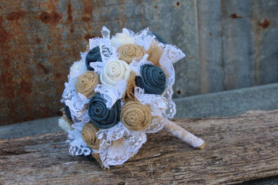 navy burlap bride's bouquet