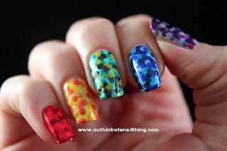 fishscale polka dot manicure