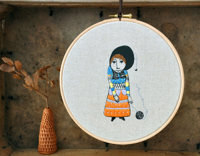 The Girl Who Knitted Love - embroidery hoop art and screen print by Fric de Mentol on Etsy