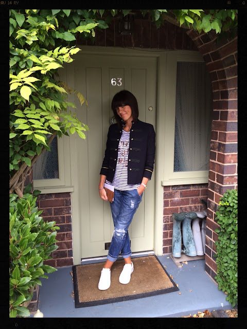 My Midlife Fashion, Sequins, Military, Boyfriend Jeans, Trainers, Distressed Denim, Mango Buttoned Jacket, Marks and Spencer, Sequins, Stripes, Zara, Breton