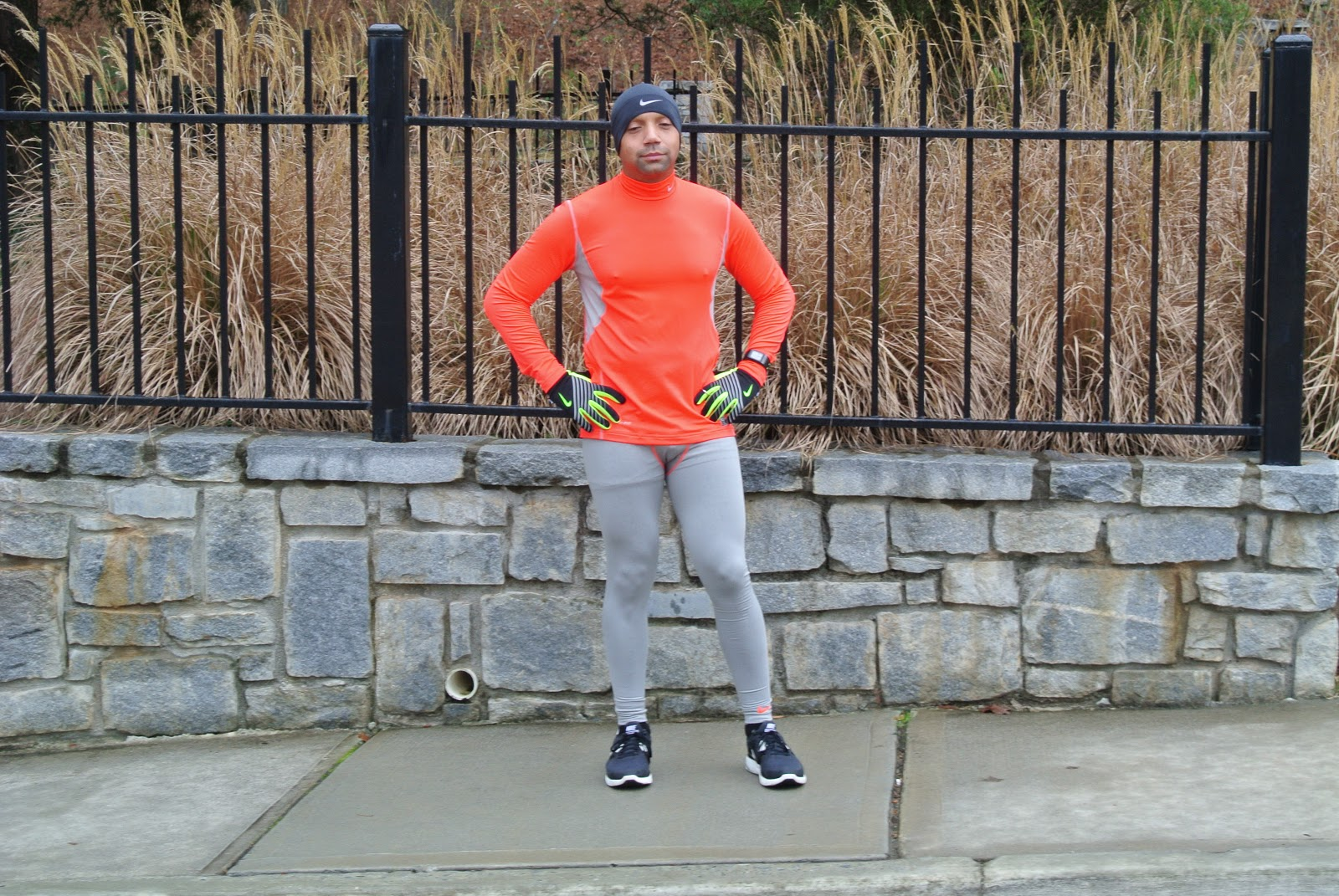 550f354db2f30 What he is wearing: Nike Pro combat Dri-fit Stay warm Hyperwarm Series Compression  pants in grey with coral trim $50.00. Top: Nike Pro combat Dri-fit Stay ...