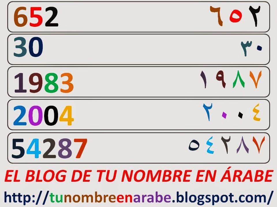Escribir numeros en arabe