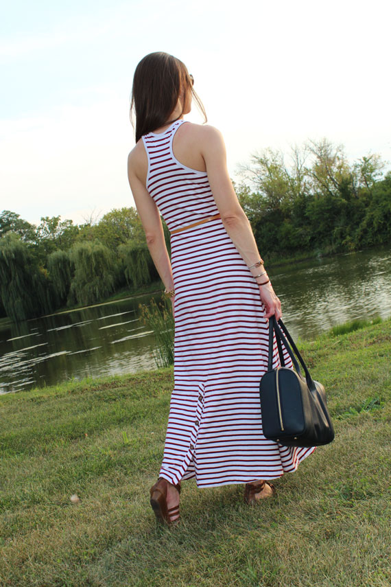 racer back striped maxi dress with buttons