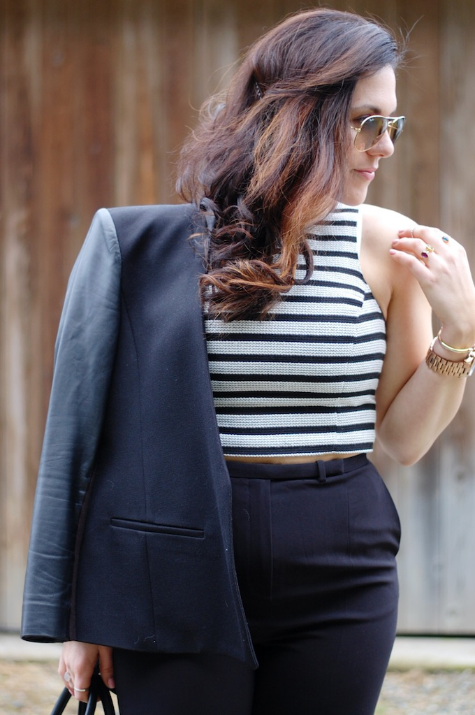 Express cropped top, Helmut Lang Crux blazer and Aritzia Elton pants by Vancouver fashion blogger Aleesha Harris of Covet and Acquire