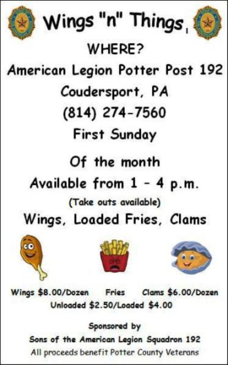 8-6 Wings 'n' Things, Coudy American  Legion