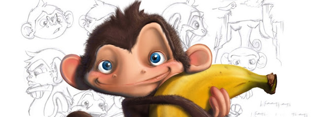 Monkey With A Banana With Monkies