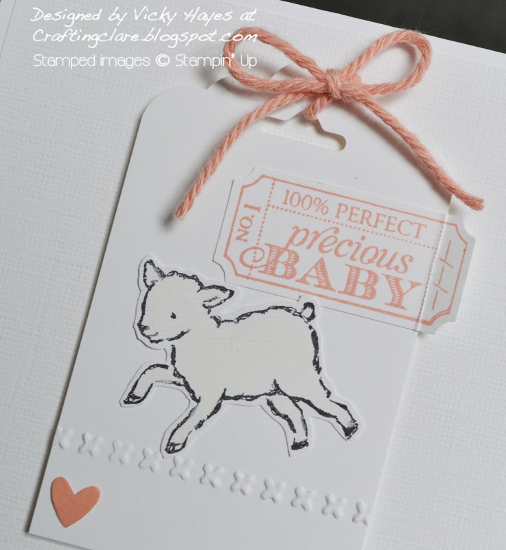 Stampin up Baby card using cord from free gift with Saleabration 2014