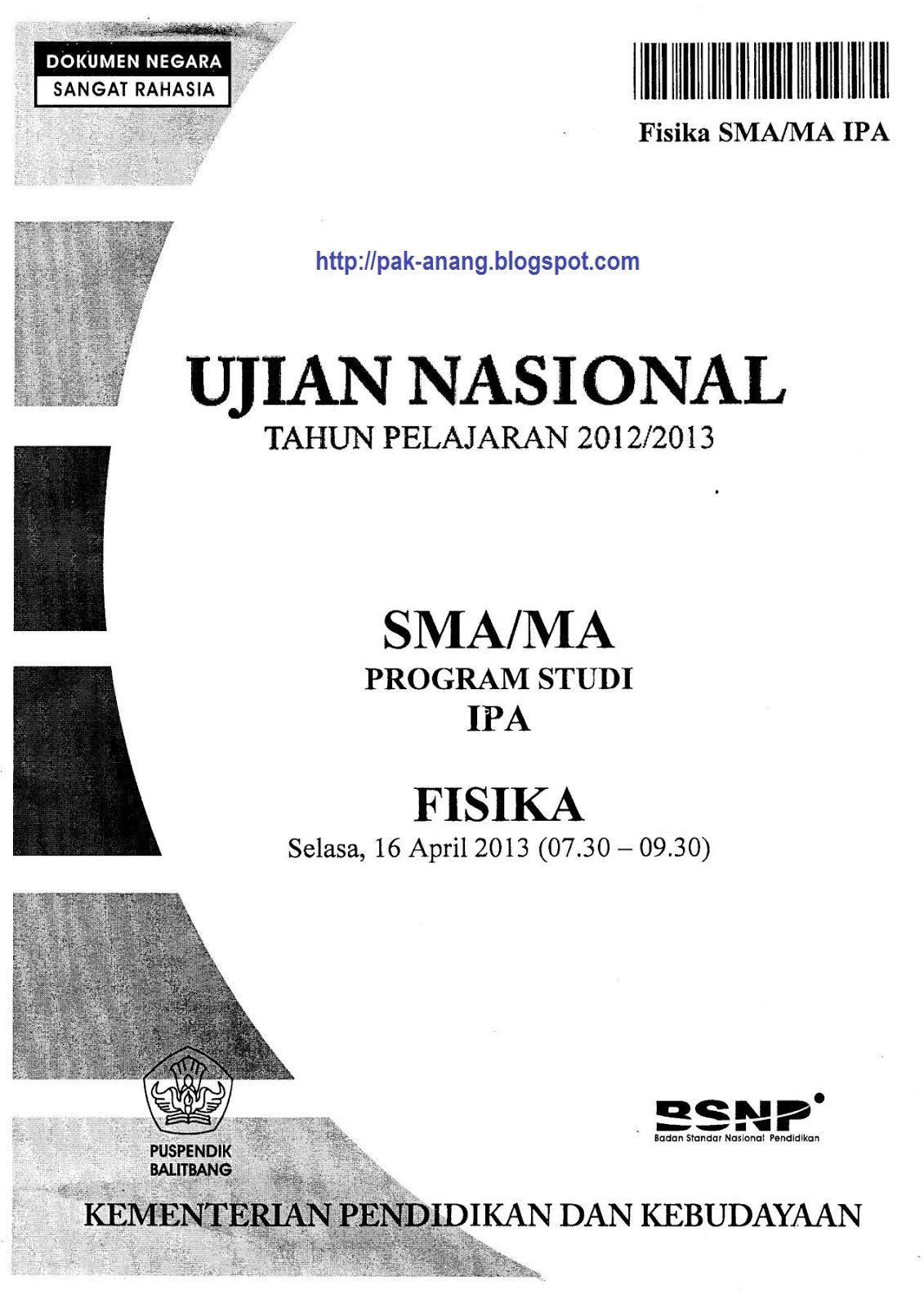 Berbagi Dan Belajar Naskah Soal Un Fisika Sma 2013 Paket 1