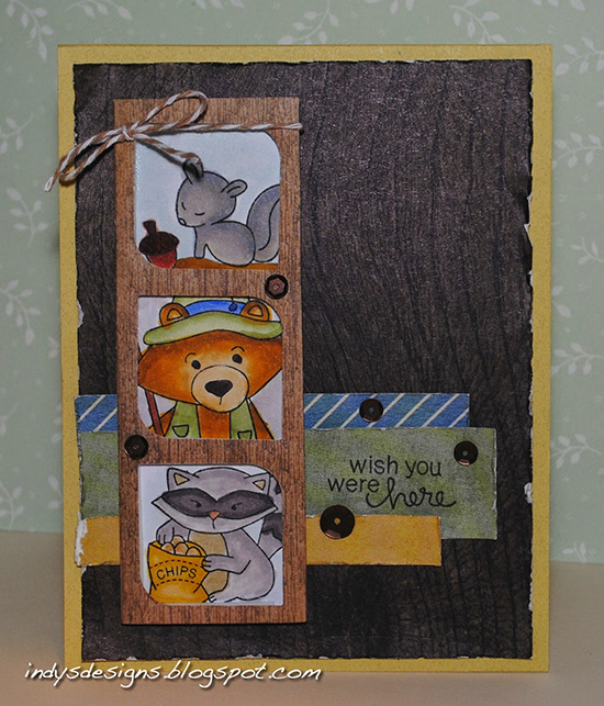 Wish you were here camping bear Card by Indy for Inky Paws Challenge #20 | Campfire Tails and Sweetheart Tails stamp set by Newton's Nook Deisgns