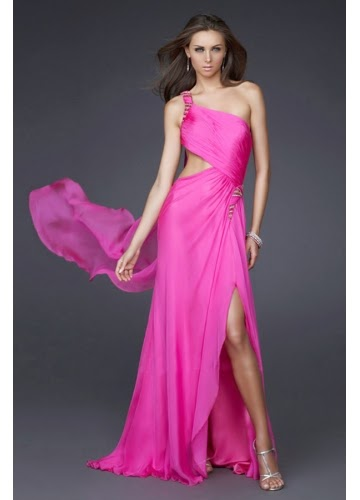 pink long Elegant Prom Dresses For You
