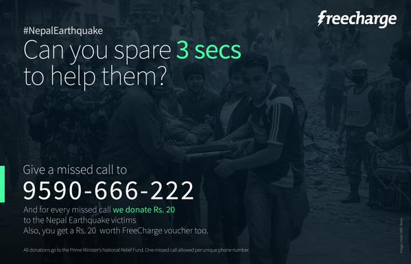 Freecharge Nepal Fund Donation Rs 20 Recharge Voucher
