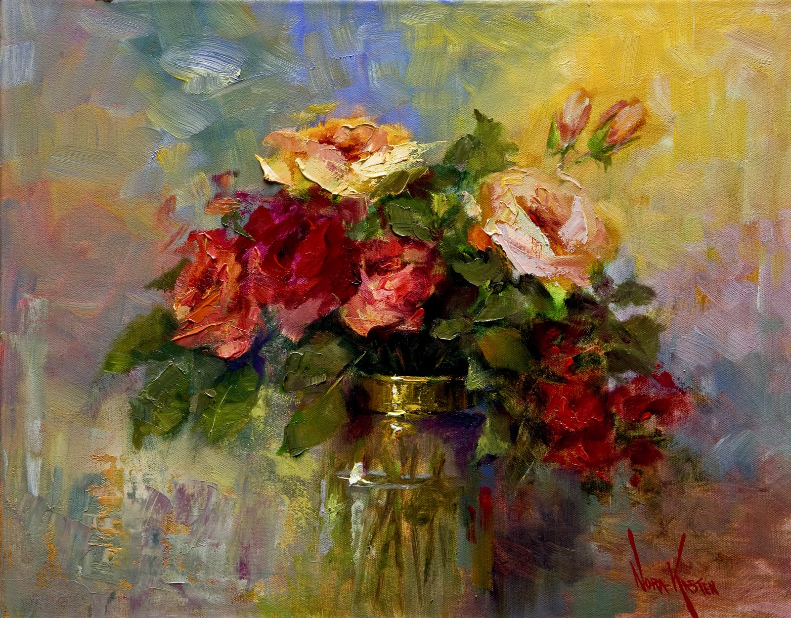 Art spirit by artist nora kasten fresh roses oil for How to paint flowers with oil paint