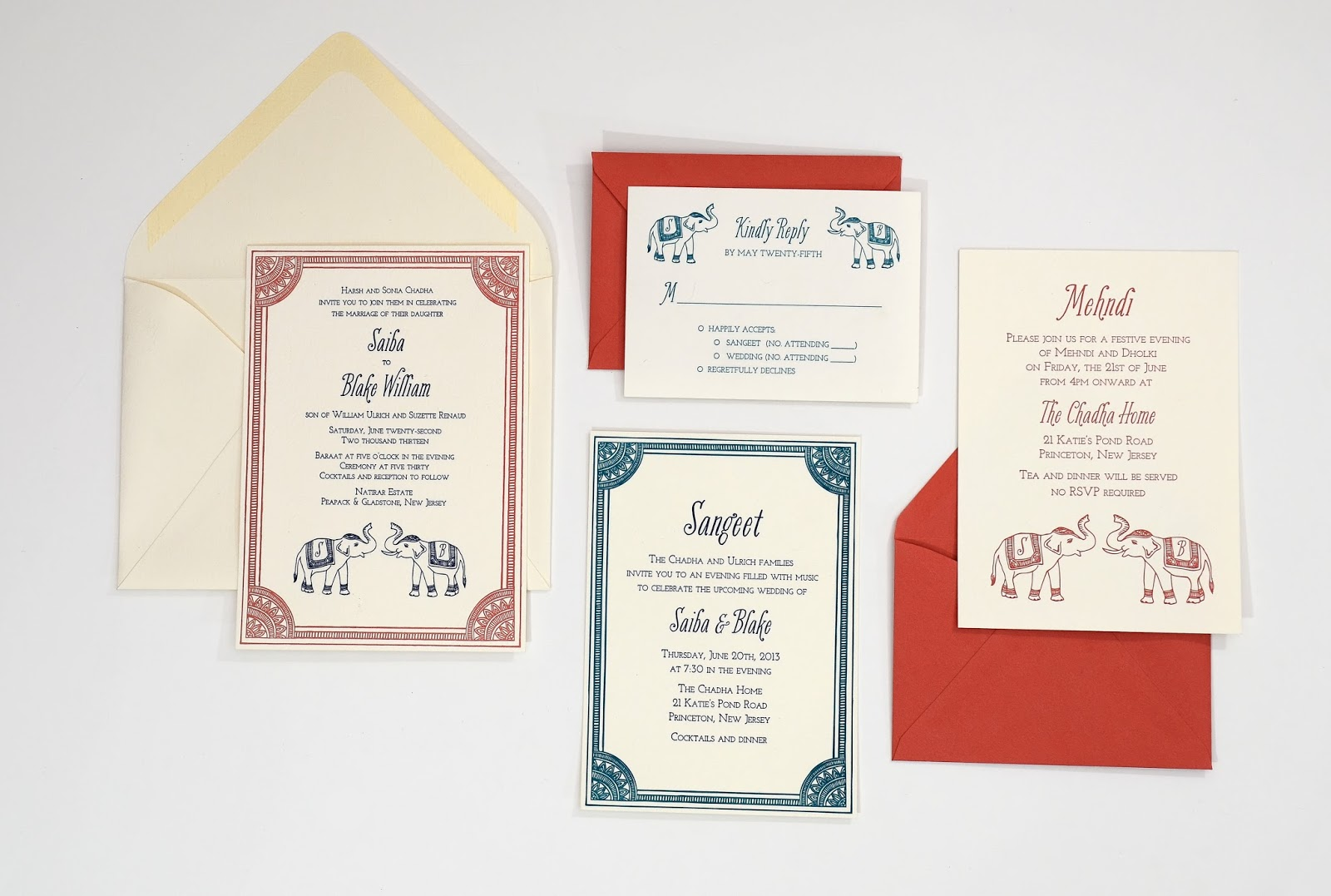 Custom wedding invitations catalog printers first up is blake and saibas indian inspired invitations they chose letterpress and i hand drew the border and the elephants for this wedding suite monicamarmolfo Image collections