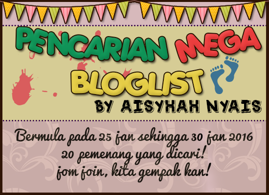 Pencarian Mega Bloglist Aisyhah Nyais, bloglist