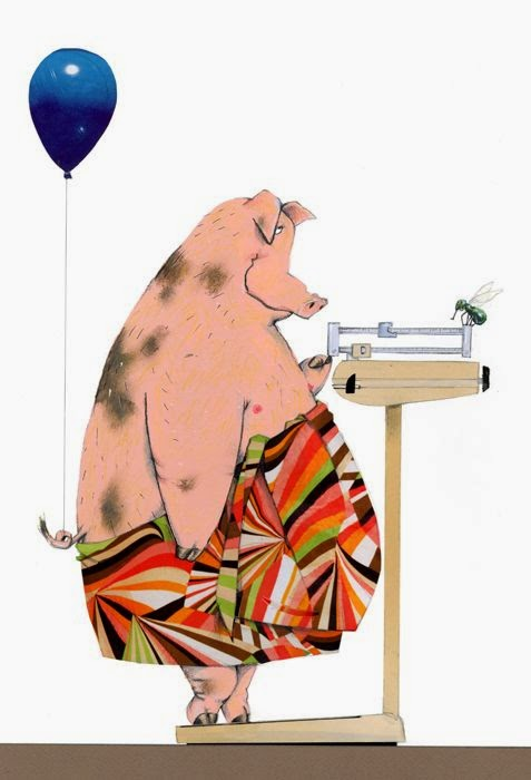 fat pig on a scale diet illustration by Robert Wagt