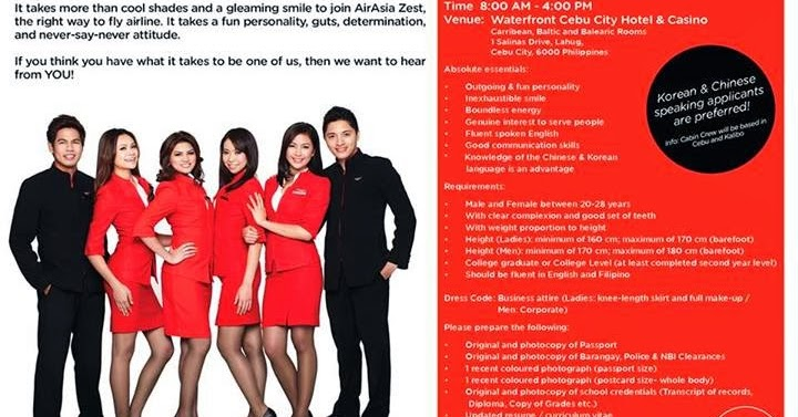 Fly gosh air asia zest cabin crew walk in interview for Korean air cabin crew requirements