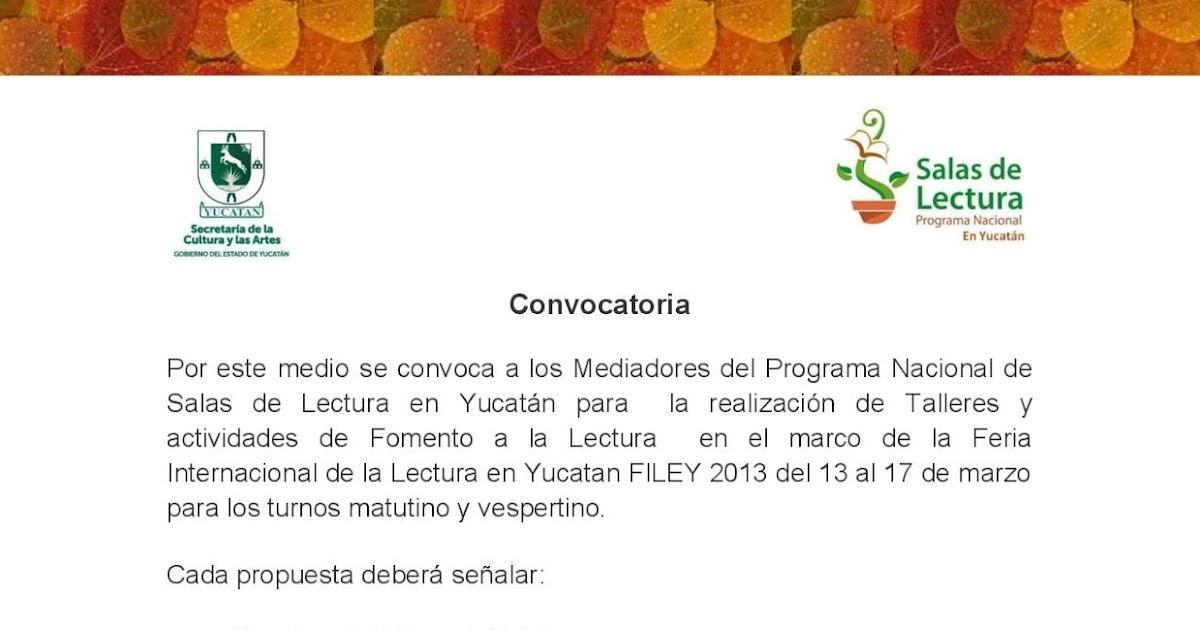 Programa Nacional de Salas de Lectura en Yucatán.: Convocatoria para ...