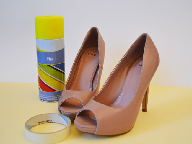 matter of style diy fashion how to diy neon shoes using spray paint. Black Bedroom Furniture Sets. Home Design Ideas
