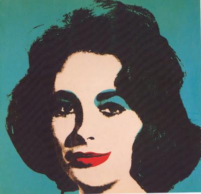 Liz Taylor de Warhol, imagen utilizada en el ensayo de arte Marilyn, Andy Warhol y Walter Benjamin realizado por Juan Sánchez Sotelo para la Academia de dibujo y pintura Artistas6 de Madrid.