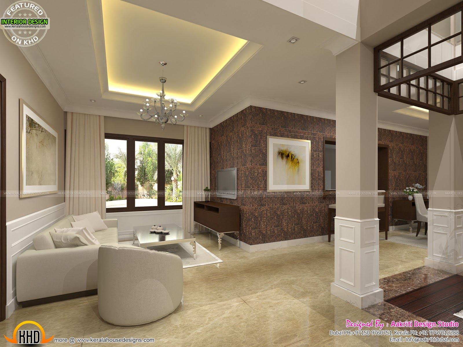 Classic style interior design for living room stair area for Living area interior design