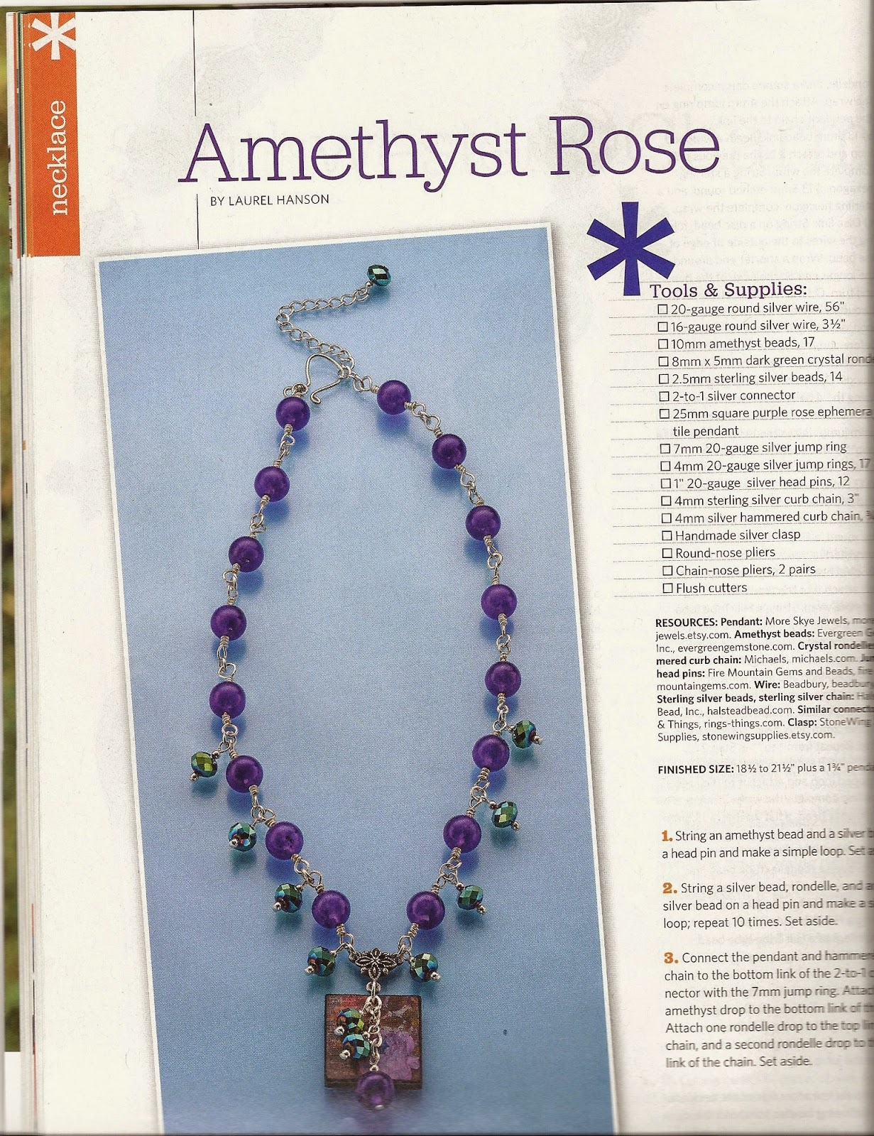 Easy Wire 2013 Amethyst Rose by Laurel Hanson