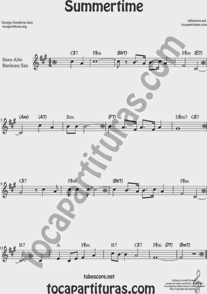 Summertime de Partitura de Saxofón Alto y Sax Barítono Sheet Music for Alto and Baritone Saxophone Music Scores