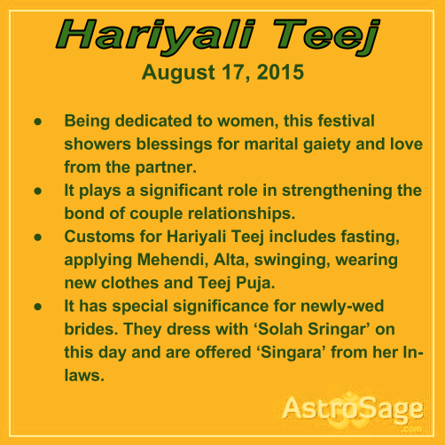 Hariyali Teej is a festival for making your beloved feel special. It is on August 17, 2015.