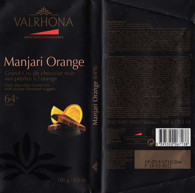 tablette de chocolat noir gourmand valrhona manjari orange 64