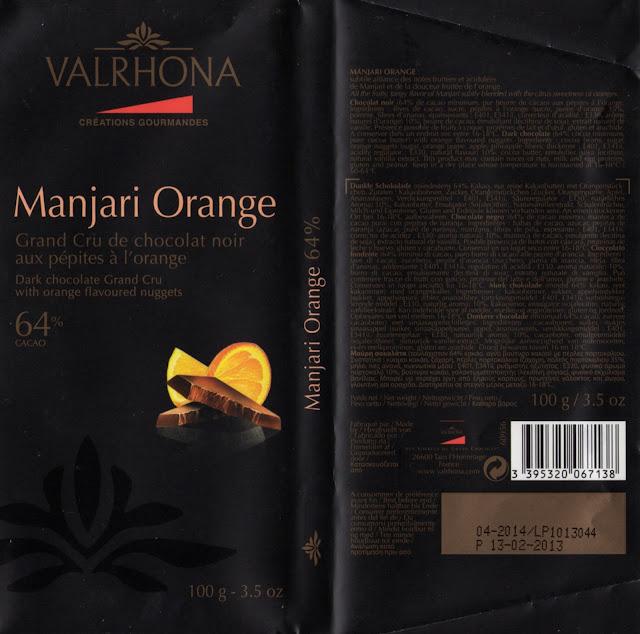 tablette de chocolat noir gourmand valrhona manjari orange 64