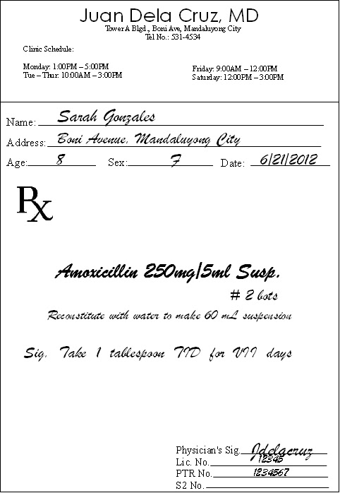 PHARMACY: Sample prescription