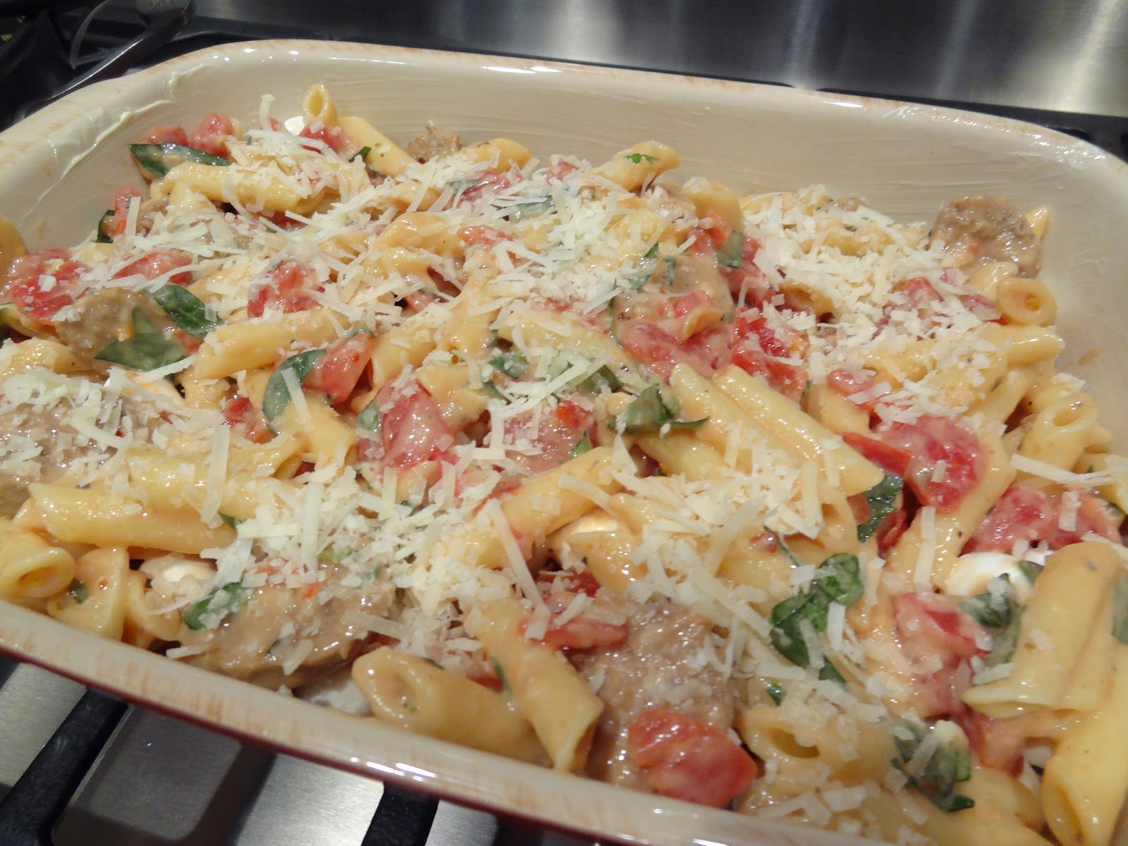 Topp with remaining pasta mixture and sprinkle with Parmigiano ...