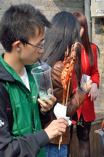 Octopus on a stick street food in Beijing